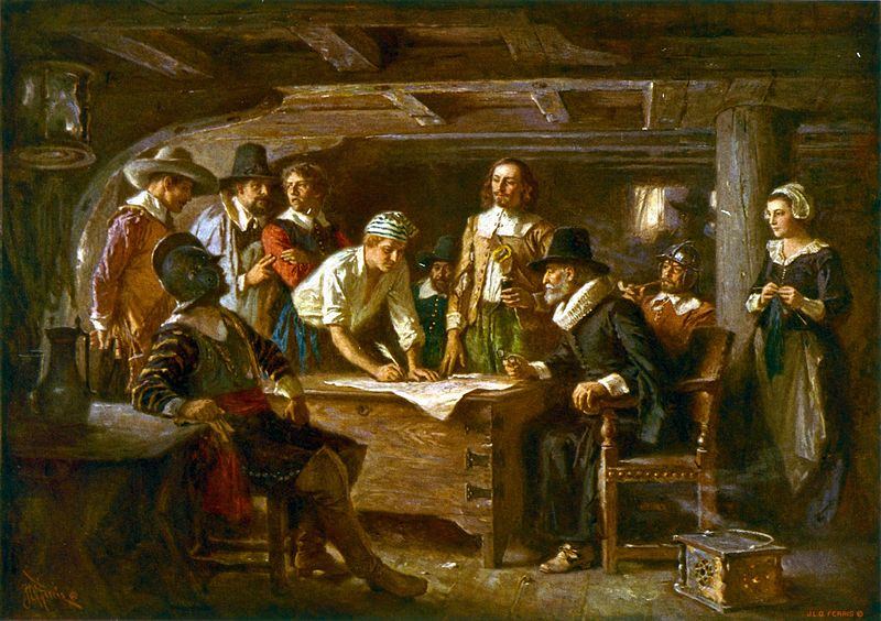 Signing the Mayflower Compact 1620, a painting by Jean Leon Gerome Ferris 1899