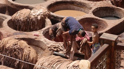 Other Berber men work in tanneries, turning animal hides into leather in these vats of ammonia. The ammonia is sourced from the waste of animals.