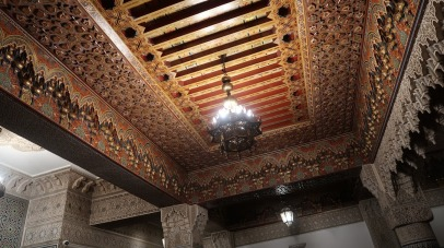 This riad likely belonged to a wealthy merchant in some distant past. This cedar wood likely came to Fes along the trade routes that passed through the city, and it was hand carved and painted by local artisans - a sign of great status on the part of the man who once owned this home.
