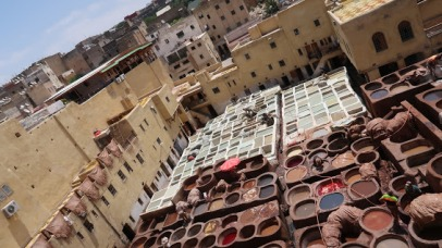 For its part, Fes became a major producer of leather goods. Tanneries such as this one still produce fine leather using many of the same techniques they have for more than a thousand years.