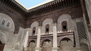 This is the Al-Attarine madrasa - the ancient equivalent of a high school in the Muslim world. Built in Fez between 1323 and 1325, its stunning woodwork and stucco detailing were funded via tax revenue from the trans-Saharan trade.