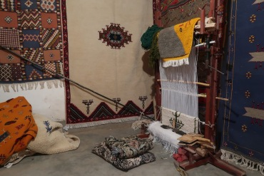 Berber women have traditionally created inticateky woven patterns on looms such as this one.